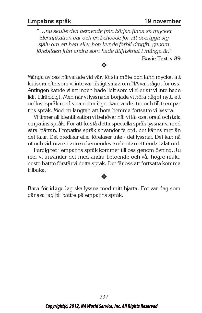 Dagens text – Bara för idag | Anonyma Narkomaner Sverige