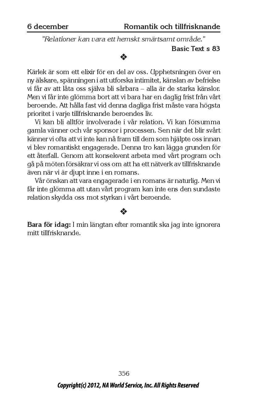Dagens text – Bara för idag   Anonyma Narkomaner Sverige